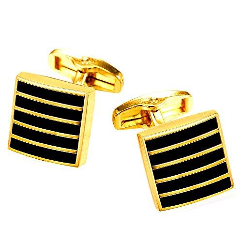 18k Square Cufflinks (Fashion Men Square Enamel Stripe Cuff Links 2 Pcs 18K Gold Plated Wedding Shirt Cufflinks)