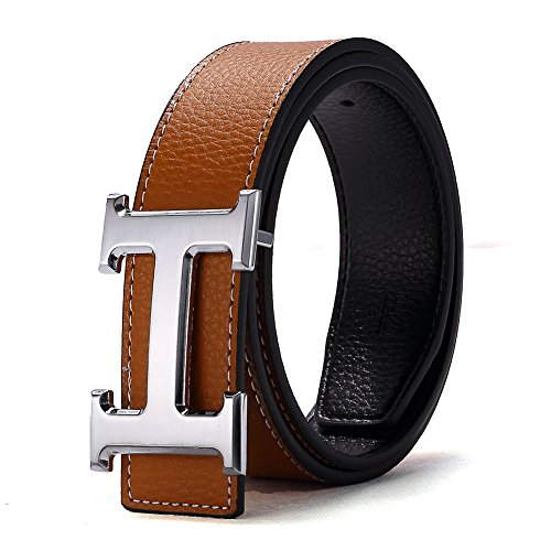 H Belts for Men Business Casual Leather Belt 1.5inch Wide (Waist Size 28-34 inch, Brown Silver)
