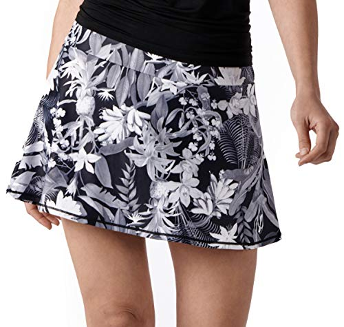 (Queen of the Court Black and White Tropical Floral Women's Athletic Tennis Skort - Skirt with Shorts for Tennis Golf Workout (Small))