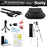 Essential Accessory Kit For Sony HDR-CX220 HDR-CX220/B HDR-CX220/L, HDR-CX220/R, HDR-CX220/S, FDR-AX53, FDRAX53/B HD Camcorder Includes 50 Tripod + Case + Micro HDMI Cable + Cleaning Kit + More