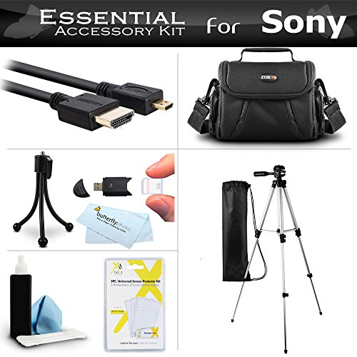 Essential Accessory Kit For Sony HDR-CX430V HDR-PJ430V HDR-CX440 HDR-CX405 HDR-PJ440 FDR-X1000V AS200V AS200 Camcorder Includes 50 Tripod + Deluxe Case + Micro HDMI Cable + Cleaning Kit + Much More by Butterfly