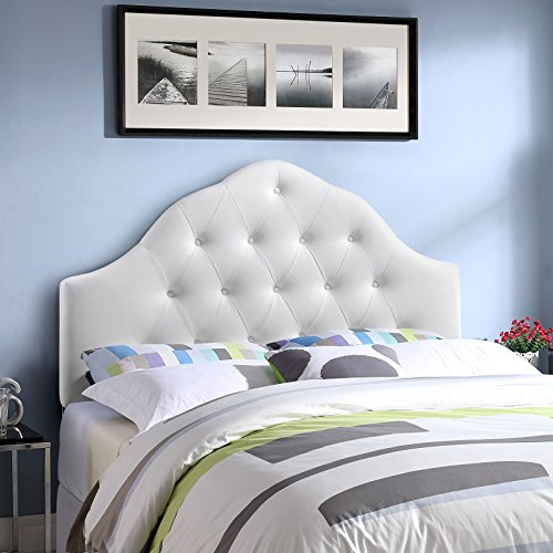 Arch King Headboard - Modway Sovereign Tufted Button Faux Leather Upholstered King Headboard in White