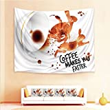 Drum Coffee Table for Sale iPrint 1pcs Hanging Tapestry 4pcs Pillow case,Wall Hanging Blanket Beach Towels Picnic Mat Home Decor,Coffee Makes You Faster Quote Espresso Stain,3D Printed Tapestry Bedroom Living Room