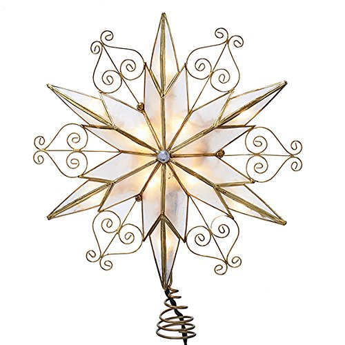 - Kurt Adler 10-Light 6-Point Capiz Star Treetop with Scroll Design