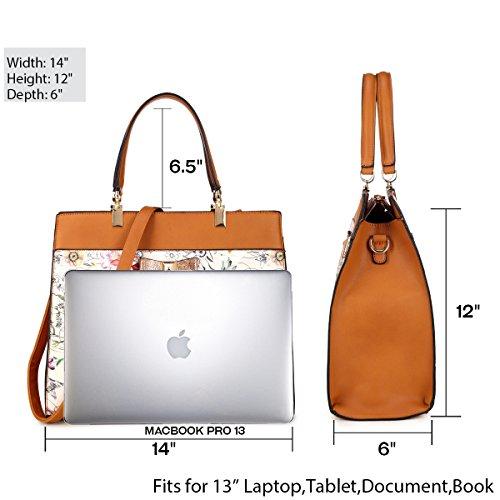 e5030ca6e449 Dasein Women s Fashion Designer Satchel Handbags Purse Shoulder Bag Work Bag  With Removable Shoulder Strap ...