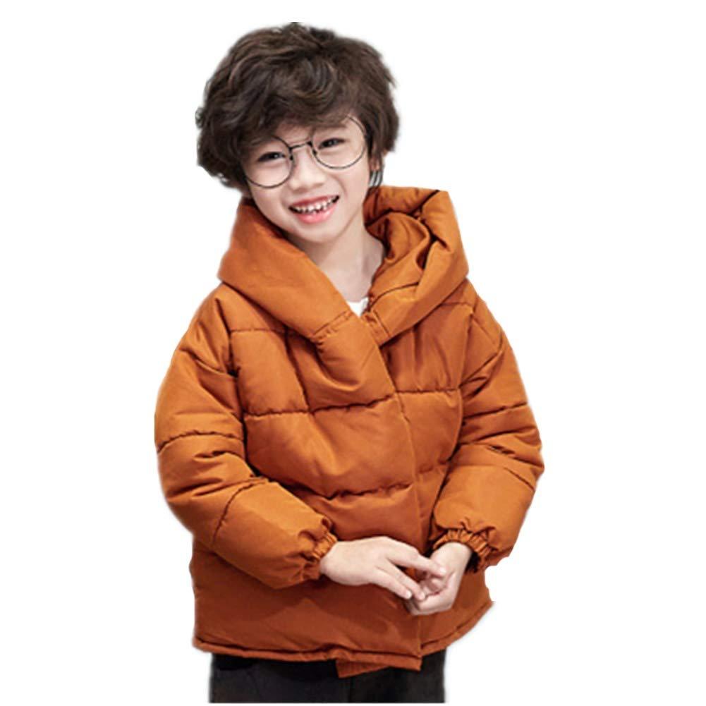 marron 130cm YZ-HODC Enfants Manteau d'hiver Unisexe Doudoune épaissir Grande Revers Capuche Capuche Blanc Duvet de Canard Outwear Solide Couleur Coupe