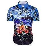 Jushye Hot Sale!!! Men s Shirts, Summer Casual Hawaiian Shirts Print T-Shirt Sports Short Sleeve Tees Blouse Tops (Blue, M)