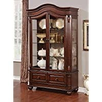 Sylvana Brown Cherry Wood Hutch & Buffet by Furniture of America