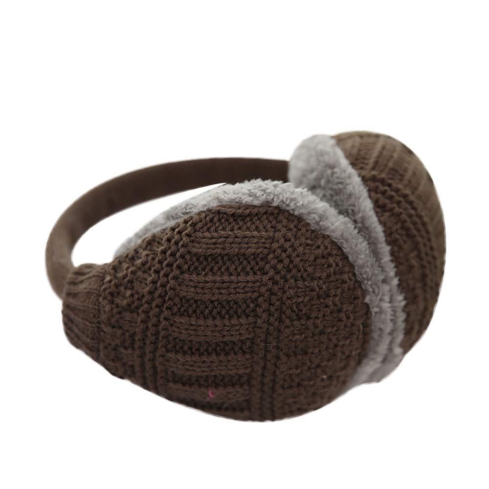 Voberry Unisex Knit Earmuffs Faux Fur Furry Plush Earwarmer Winter Outdoor Ear Muffs for Men Women Girls Boys (Coffee)