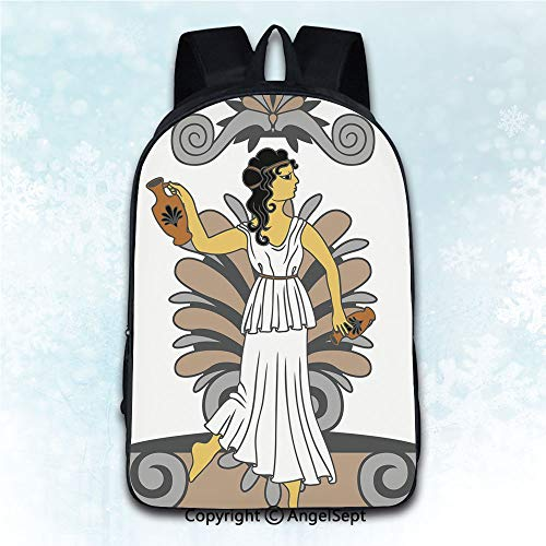 Women Backpack Oxford Cloth Elegant Shoulder Bag,Toga Party Greek Woman with Amphoras in Classical Style Colored Variant Art Grey Light Brown Black 16 inches,Backpacks for Teen Girls