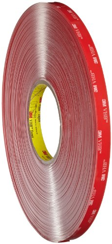3M VHB Tape 4910 Clear, Mounting Tape, 1/2 in x 36 yd 40.0 mil (Case of 4) by 3M