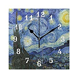 SEULIFE Wall Clock Van Gogh Starry Night, Silent Non Ticking Clock for Kitchen Living Room Bedroom Home Artwork Gift