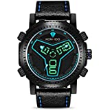 KONXIDO Mens Sports Watches, Digital Analog Waterproof Multifunctional Watches, Alarm and EL Backlight, Dual Time Function, with Genuine Leather Brand, Wrist Watch Gift for Men KX-6341 (Blue)