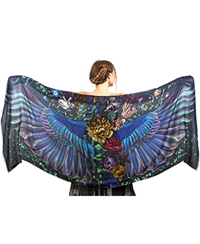 Silk & Cashmere Hand Painted Onyx Dark Bird Wings Designer Shawl Scarf Wrap