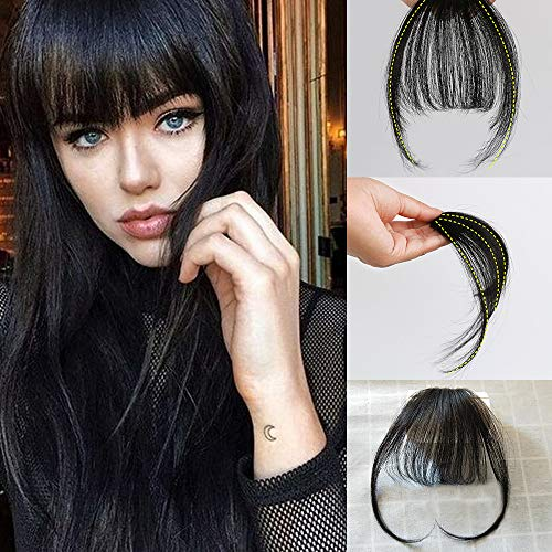 Vowinlle Natural Real Human Hair Flat Bangs/Fringe Hand Tied Bangs Fashion Clip-in Hair Extension (Flat Bangs with Temples, Off Black #1B) (Best Clip In Bang Extensions)