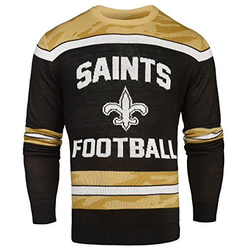FOCO New Orleans Saints Ugly Glow In The Dark Sweater - Mens - Mens Large by FOCO