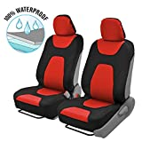Motor Trend 3 Layer Waterproof Car Seat Covers - Modern Sideless Quick Install Auto Protection (Black & Red)