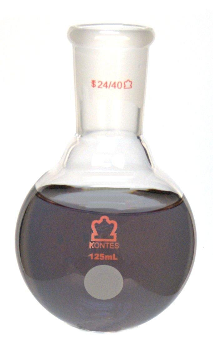 Kimble Chase KIMAX 601000-2224 Heavy Wall Round Bottom Flasks, Single 24/40 Standard Taper Neck, Borosilicate Glass, 125 ml