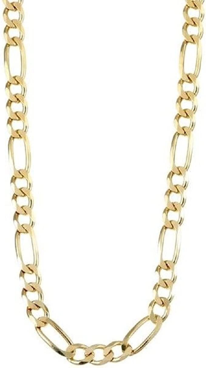 Necklace Chain Bracelet 18k Yellow Gold Filled Solid Statement Figaro Link