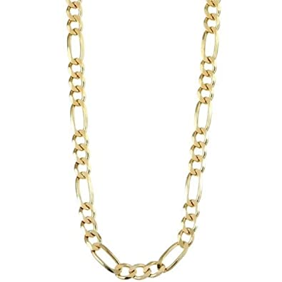e8a409fdfaf Mens .925 Sterling Silver Gold Plated 6mm High Polish Figaro Chain Necklace  - Made In Italy-26