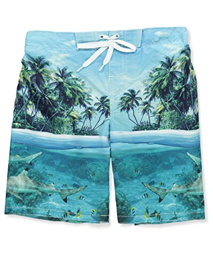 Smith's American Big Boys' Swim Trunks - Aqua, (Big Smith Clothing)