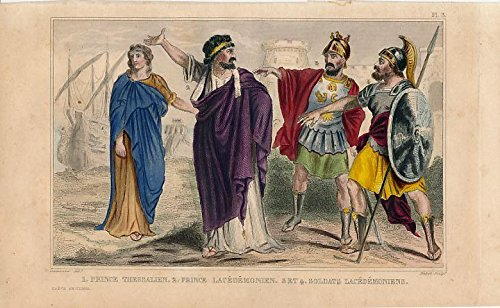 Nobles soldiers of Sparta Greece ca. 1840 old hand color Ethnic costume print ()
