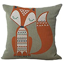 "VVLuck Cotton Animal Printed Decorative Stuffed Cushion Square Shaped Pillow Case Hidden Zippered Cushion Cover Cotton Linen Throw Pillow Case for Kid's Room Decoration Sleepy Fox 18""x18"""
