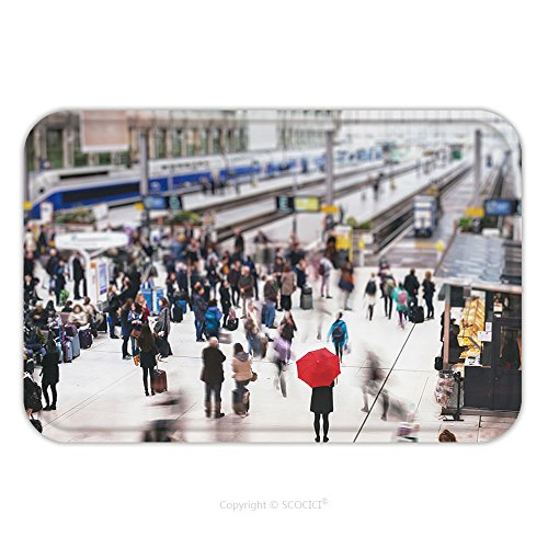 Flannel Microfiber Non-slip Rubber Backing Soft Absorbent Doormat Mat Rug Carpet Woman With Red Umbrella Waiting At Train Station And Blurred People In Motion Solitude Concept 460332382 for Indoor/Out - Blurred Out Costume