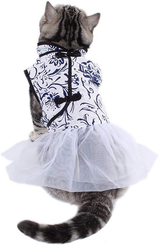 Vestido De Gato Vestido Azul Impresión Ropa Perro Perro Abrigo Ropa Blanca Ropa De Mascotas Ropa XL Azul: Amazon.es: Productos para mascotas