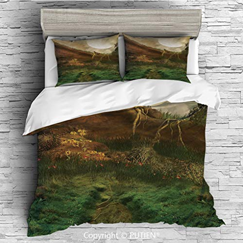 KING Size Cute 3 Piece Duvet Cover Sets Bedding Set Collection [ Nature,Exquisite Valley with Giant Full Moon Sky Enchanted Fantasy Scenery,Peach Fern Green Cinnamon ] Comforter Cover Set for Kids Gir
