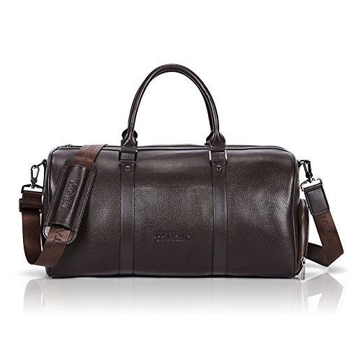 (BOSTANTEN Genuine Leather Travel Weekender Overnight Duffel Bag Gym Sports Luggage Bags For Men)