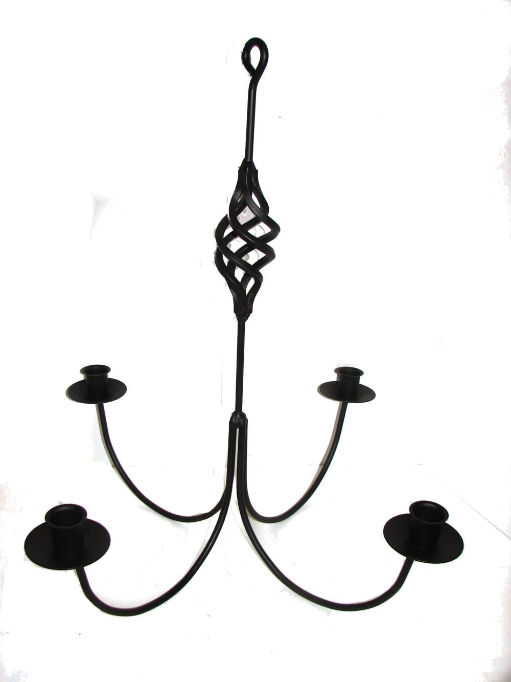 Wrought iron 4 arm candle chandelier w birdcage center