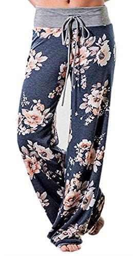 Artfish Women's Loose Baggy Yoga Long Pants Floral Printed Trousers Flowy Beach Pants (Navy 5#, S)