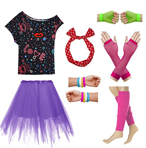80s Party Costume T Shirt Halloween Dressing for Women and Girls Outfit Set (XXL, Hot Pink) -