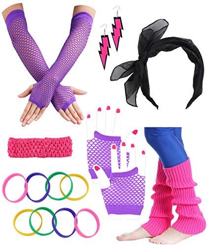 Besteel 80s Outfit Costume Accessories Headband Neon Earrings Fishnet Gloves Leg Warmers Bracelet Sets P ()