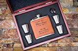 Best Man Flask Woods - Engraved Faux Rawhide Leather Flask 6pc Gift Set Review