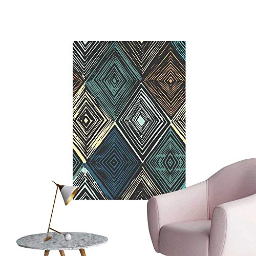 Camerofn Geometric Wall Mural Wallpaper Stickers Hand Drawn Style Rhombus Motifs in Retro Colors with Tie Dye Art Inspiration Fashion Stickers for Wall Multicolor W16 x H20 -