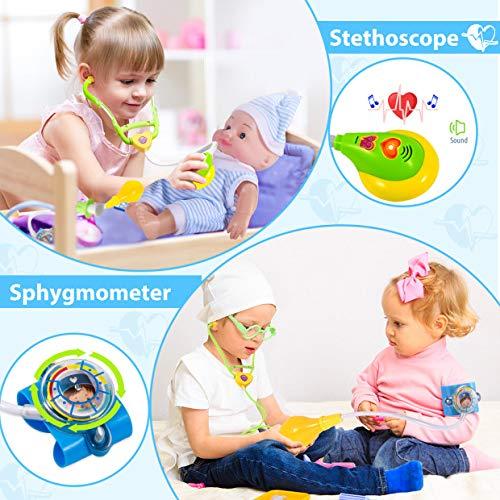 Joyjoz Kit Dottore Giocattolo Valigetta Dentista Gioco Dottore Bambini Kit Medico Comprendente Baby Doll Regali di San Valentino per Bambini