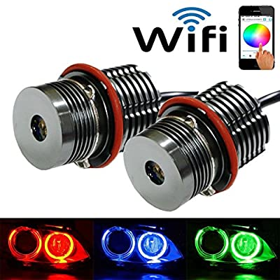 iJDMTOY Wifi Remote Control CREE RGBW Multi-Color LED Angel Eyes Ring Marker Bulbs For BMW