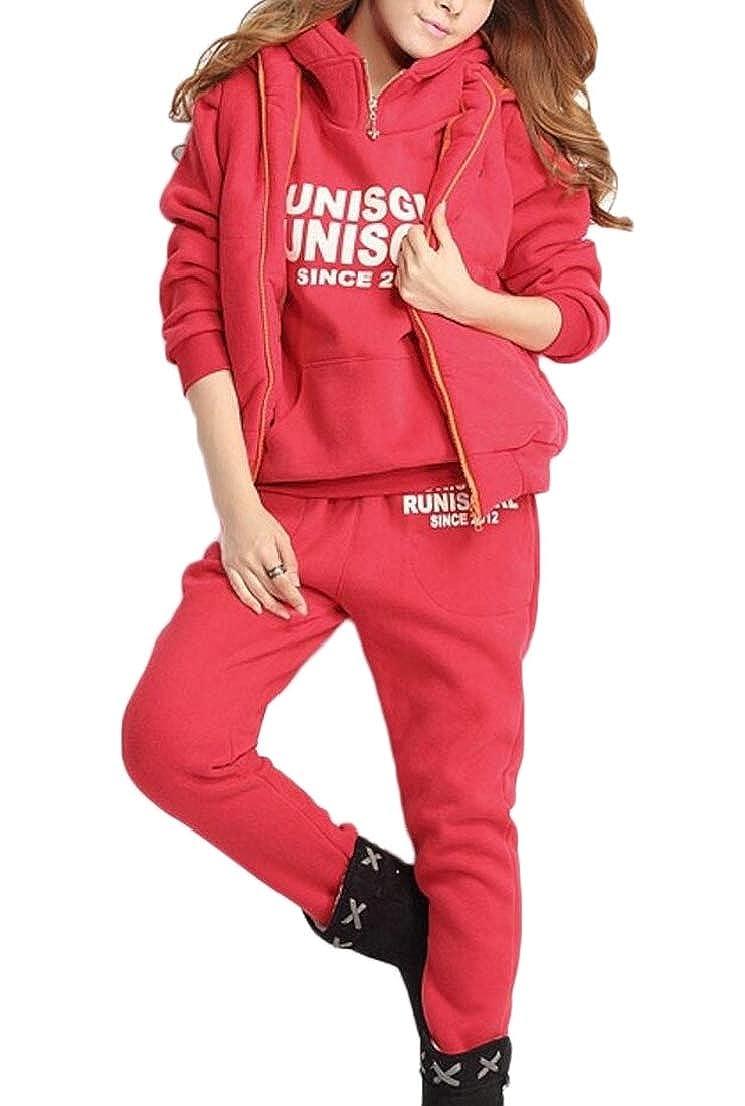 Generic Womens Thicken Vest + Hoodie Sweatshirt + Sweatpants 3 Piece Tracksuit
