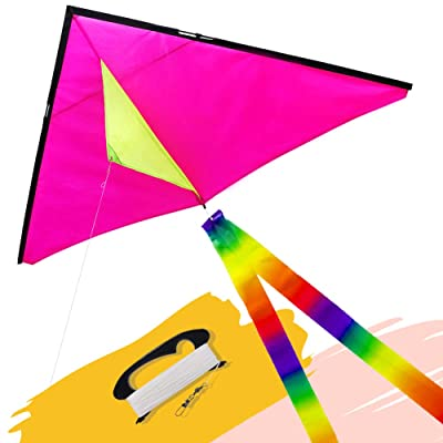 emma kites Pink Fun Color Delta Kite for Kids Adults Beginners Easy to Fly, Great Outdoor Games Activities, Kite Line and Tail Included: Toys & Games