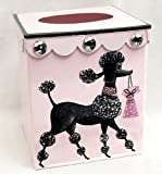 Retro Vintage Tissue Holder ~ Tissue Box Cover ~ Tissue Box Holder ~ Kleenex Holder E58 ~ Shabby Chic Pink Enamel with French Vintage 50's Poodle Art
