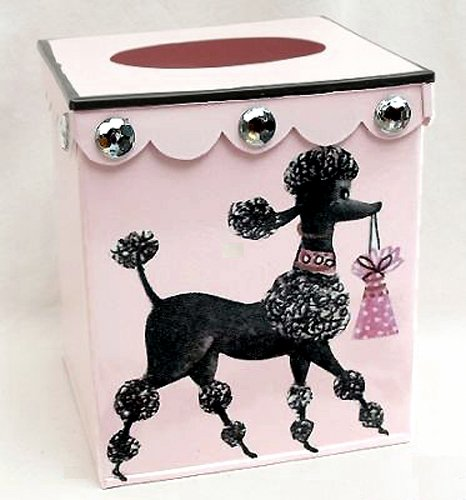 Retro Vintage Tissue Holder ~ Tissue Box Cover ~ Tissue Box Holder ~ Kleenex Holder E58 ~ Shabby Chic Pink Enamel with French Vintage 50's Poodle Art 51m6Yj7TbtL