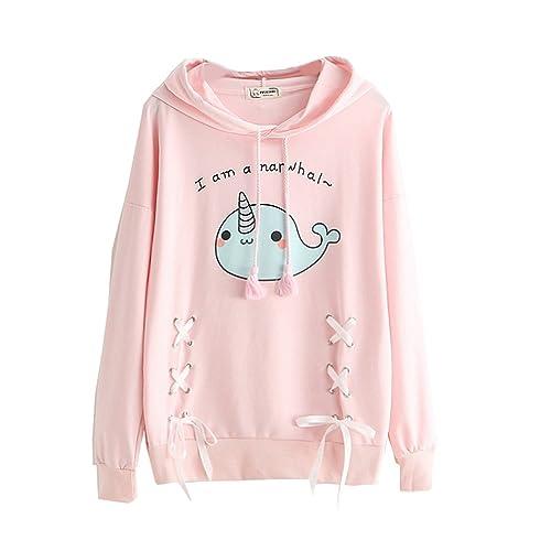 Himifashion - Camiseta de Manga Larga - Animal Print - Cuello Redondo - para Mujer
