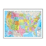 United States Advanced Political Mounted Framed Wall Map Frame Color: Silver