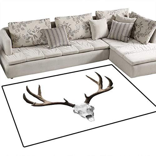 Price comparison product image Antlers Decor Floor Mat for Kids A Deer Skull Skeleton Head Bone Halloween Weathered Hunter Collection Bath Mat Non Slip 3'x5'