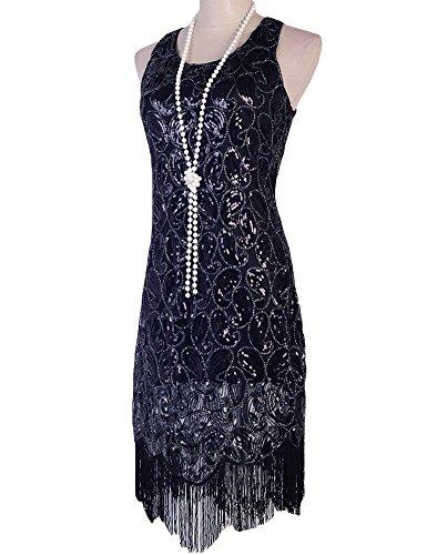PrettyGuide Mujeres 1920 Paisley Con Lentejuelas Racerback Borlas Flapper Vestido De Coctel negro puro