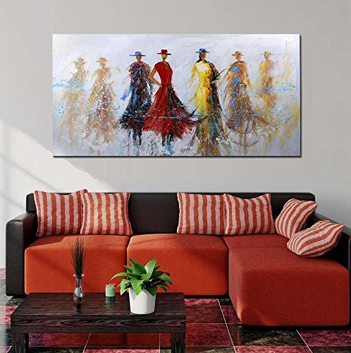 ARTLAND Hand-painted 24x48-inch 'Dance Floor' Gallery-wrapped Canvas Woman Wall Art by ARTLAND