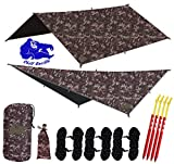 Chill Gorilla 10x10 Swallowtail Hammock Rain Fly Camping Tarp. Ripstop Nylon. 170' Centerline. Stakes, Ropes & Tensioners Included. Camping Gear & Accessories. Perfect Hammock Tent. Blue