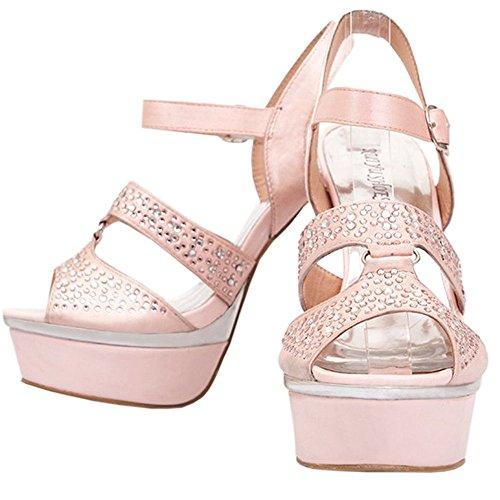 Heel Shoes Rhinestone CoolCept Silk Women Upper Studed High Sexy Sandals Pink xnqBgnU